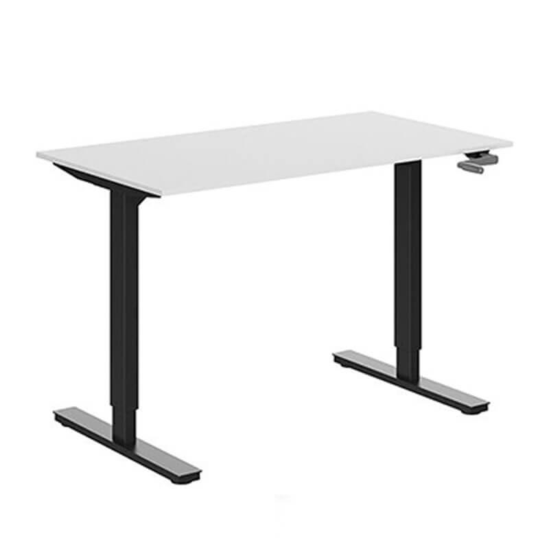 Slingerverstelbaar zit-sta bureau wit blad en zwart onderstel Officetopper