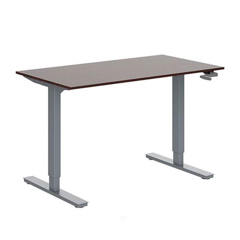 Slingeverstelbaar zit-sta bureau met dark oak blad en aluminium onderstel