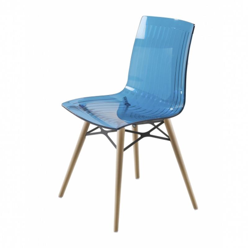 Transparant blauw blank beuken Kantinestoel Papatya X-teme S Wox Officetopper