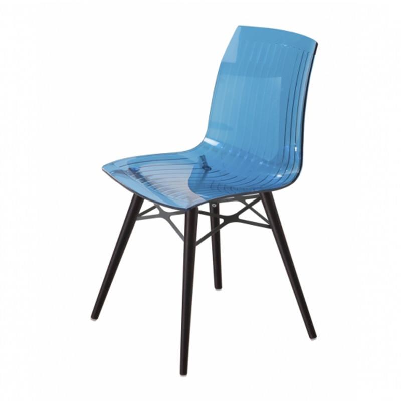 Transparant blauw Wenge Kantinestoel Papatya X-teme S Wox Officetopper