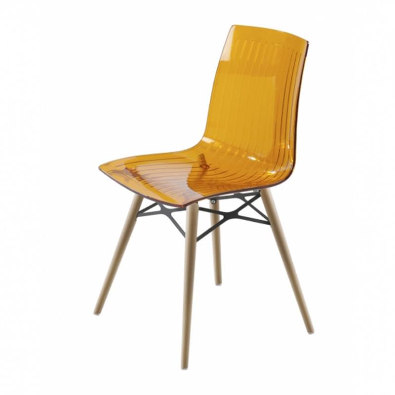 transparant geel, blank beuken Kantinestoel Papatya X-teme S Wox Officetopper