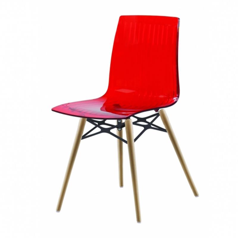 Transparant rood blank beuken Kantinestoel Papatya X-teme S Wox Officetopper