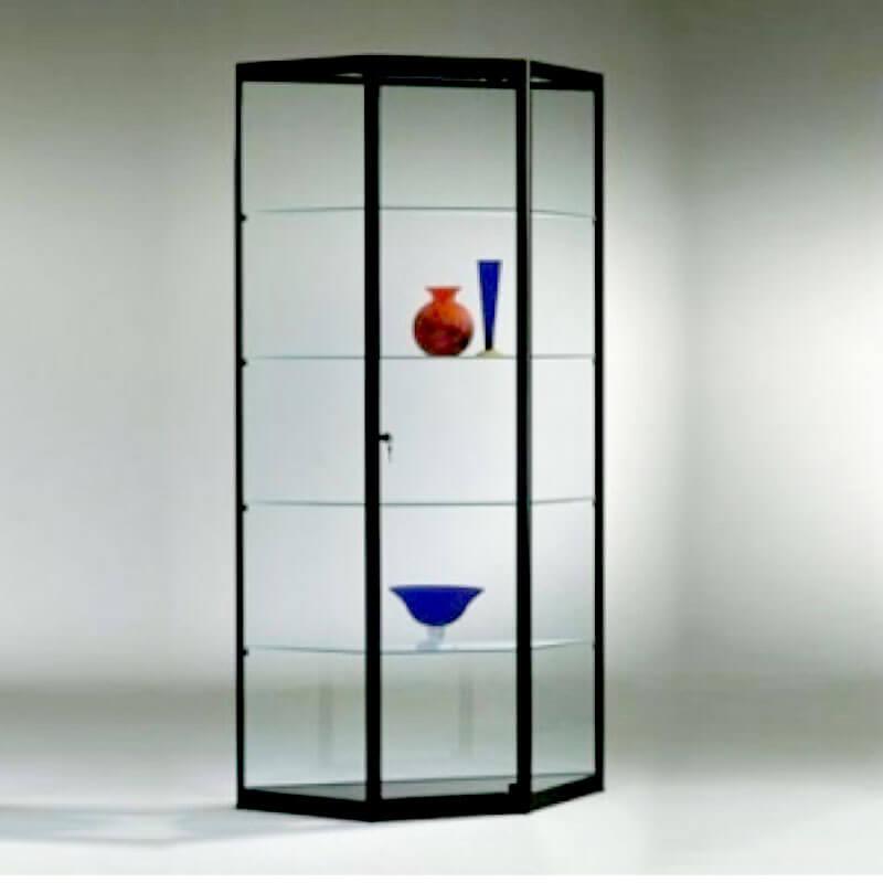 Trapezium vormige vitrinekast Officetopper