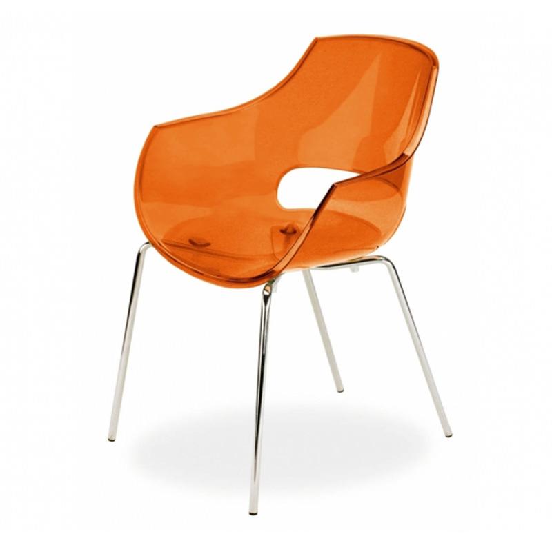 Vergaderstoel Paptya Opal Officetopper Oranje transparant designstoelen