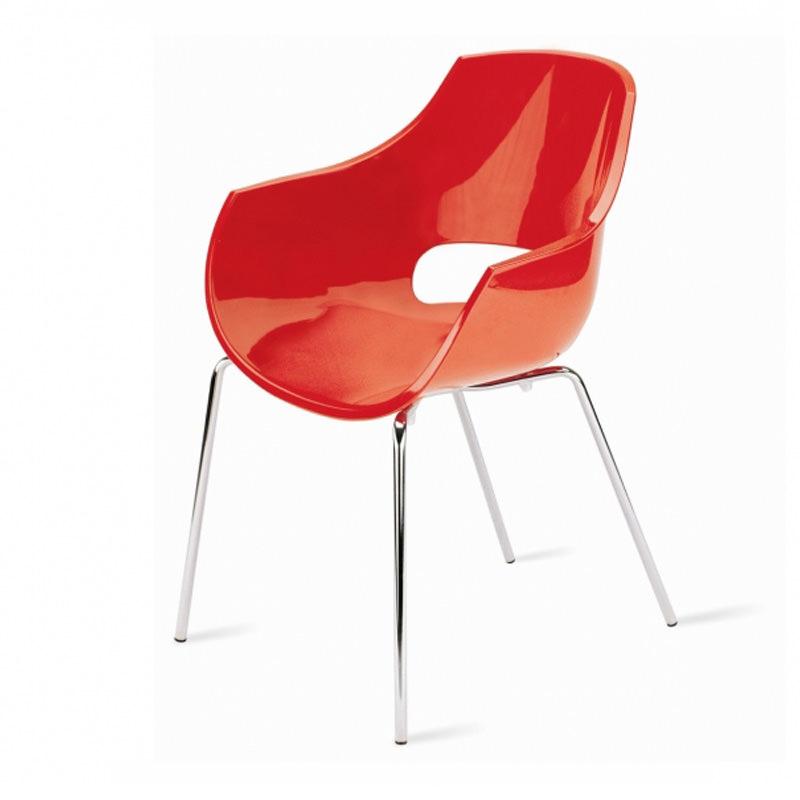 Vergaderstoel Paptya Opal Officetopper solide rood designstoel