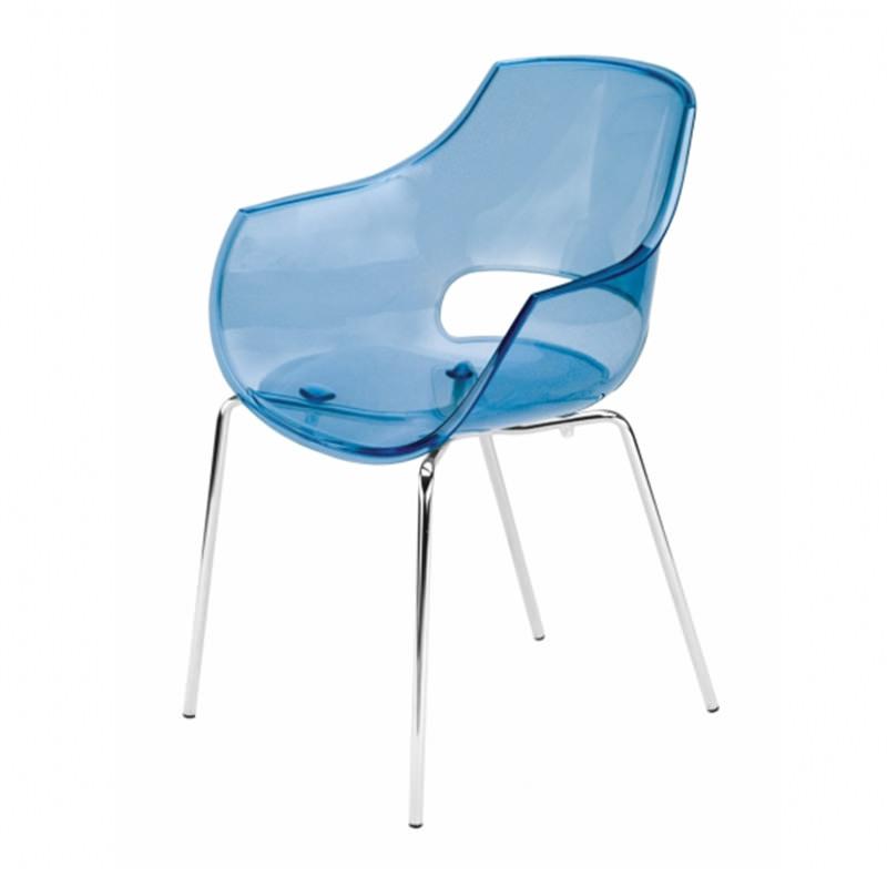 Vergaderstoel Paptya Opal Officetopper transparant blauw designstoel