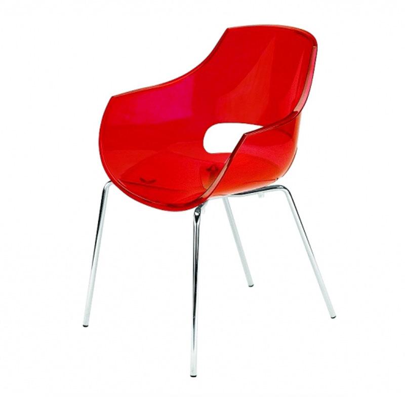 Vergaderstoel Paptya Opal Officetopper transparant rood designstoel