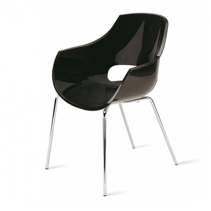 Vergaderstoel Paptya Opal Officetopper zwart solide designstoel