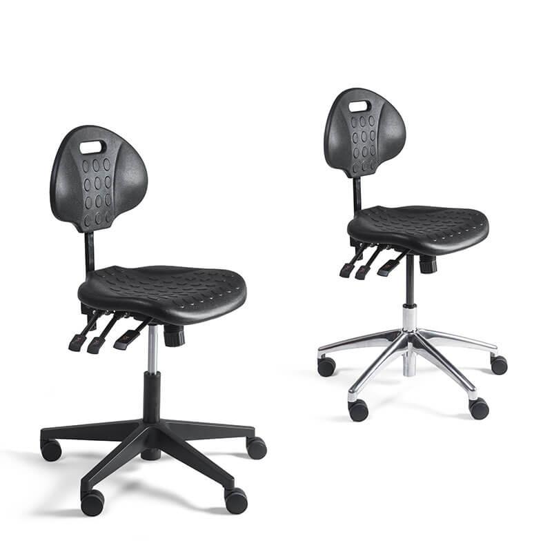 Verijdbare werkstoel met zwarte zitting