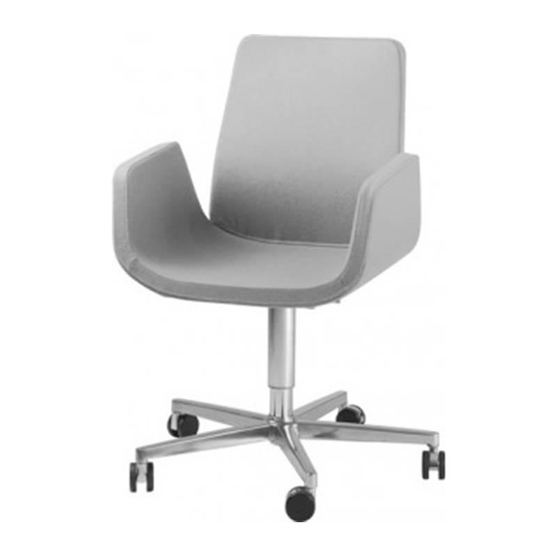 Lichtgrijze verrijdbare kantoor fauteuil Officetopper