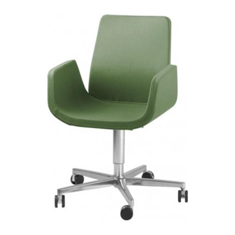Groene Nero fauteuil met verrijdbaar onderstel Officetopper