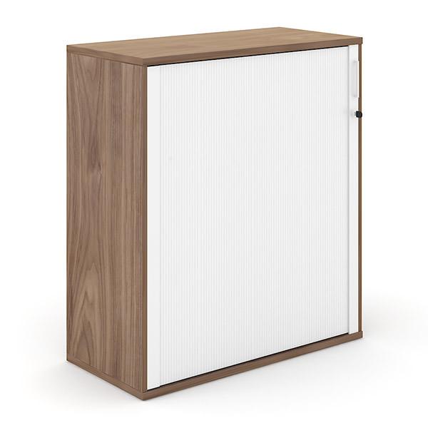 Walnoot-kleurige houten roldeurkast  114cm hoog met witte roldeur Officetopper kantoormeubilair Effektiv
