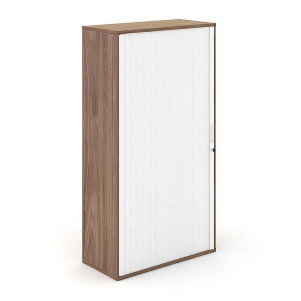 Walnoot-kleurige houten roldeurkast met witte roldeur Officetopper kantoormeubilair Effektiv
