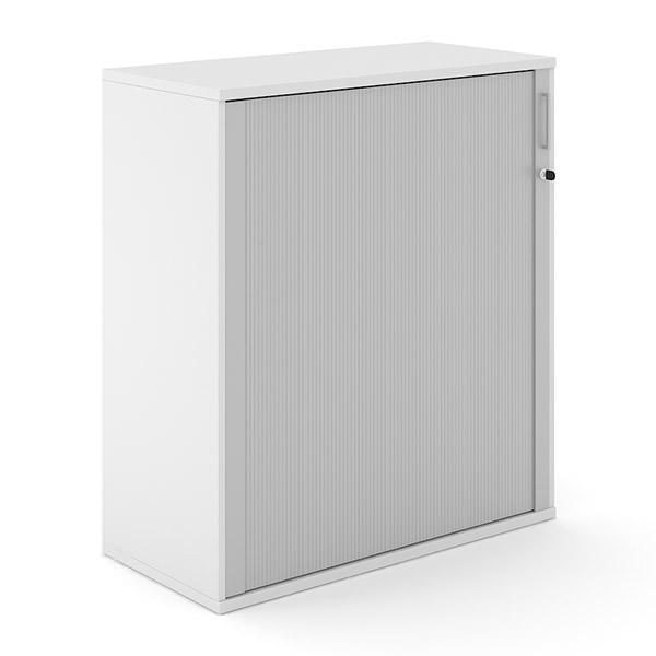 Witte houten roldeurkast 114cm hoog met aluminium roldeur Officetopper Effektiv