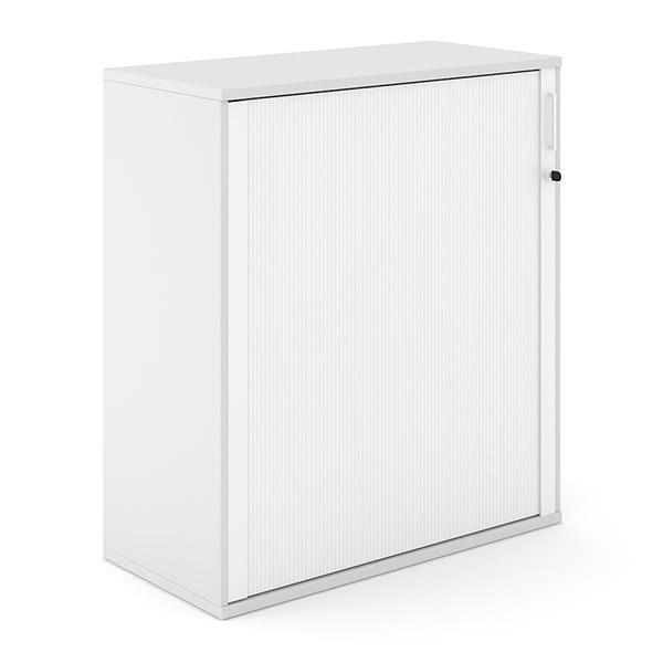 Witte houten roldeurkast 114cm hoog met witte roldeur Officetopper archiefkasten Effektiv