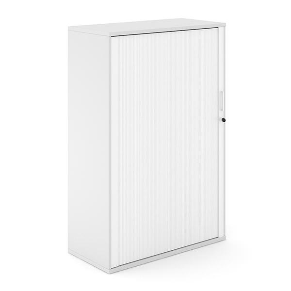 Witte houten roldeurkast met witte roldeur Officetopper archiefkasten Effektiv