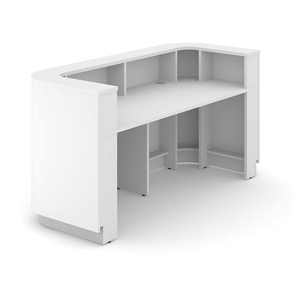 Balie 200x80x102/74cm wit, rond Officetopper