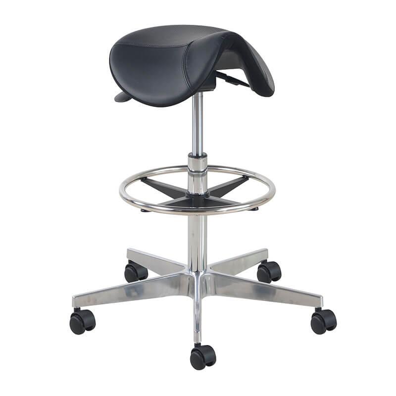 Zadelkruk met voetring en aluminium kruisvoet Officetopper kantoormeubilair