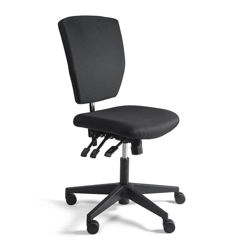 Verrijdbare Zwart-gestoffeerde-kassastoel-Officetopper