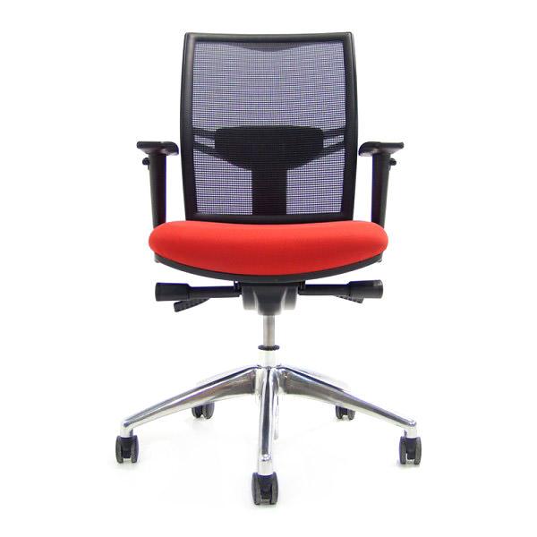 Zwarte-bureaustoel-rode-stoffering-O.T.-02 Officetopper tweedehands bureaustoel
