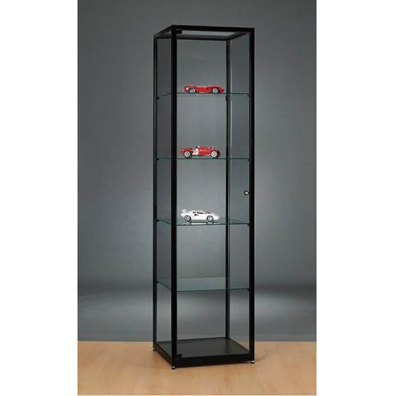 zwarte 200cm hoge vitrinekast 60cm breed Officetopper kantoormeubelen